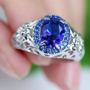 Blue CZ Sapphire 10 KT White Gold Filled Band Ring